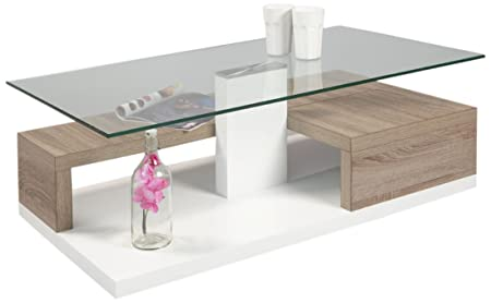 HL Design 01-01-161.1 Luis Table basse en bois Chêne Clair Sonoma/Laqué Haute Brillance 110 x 60 x 40 cm