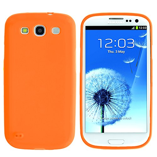 Miniturtle, Colorful Lightweight Slim Fit Flexible Tpu Phone Case Cover, Stylus Pen, And Clear Lcd Screen Protector Accessory Bundle For Android Smartphone Samsung Galaxy S3 Iii I9300 (Orange)