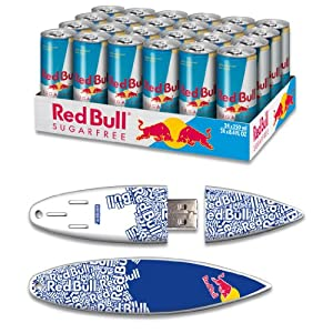 Red Bull 24pack 8.4oz Sugarfree Energy Drink & 8GB Blue Text USB SurfDrive