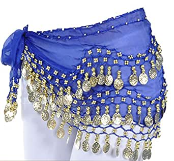 Women Chiffon Gold Coins Belly Dance Hip Scarf