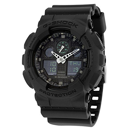 Casio G-Shock Black Dial Resin Multifunction Quartz Men's Watch GA100MB-1A