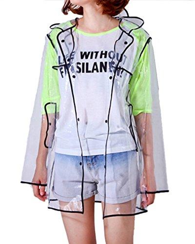 ZANZEA New Womens Hooded Transparent Clear Raincoat Cute Waterproof Rainwear