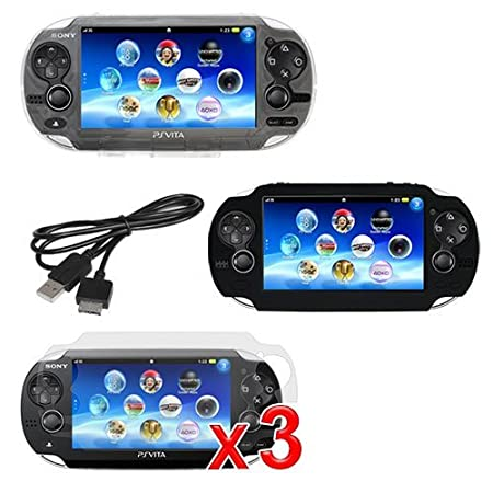 Sony PS vita Playstation Combo, Skque Black Soft Silicone Gel Case + 3*Screen...
