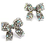 Adorable 3/4 Ribbon Bow Stud Earrings with Sparkling AB (Aurore Boreale) Austrian Crystals - Silver Rhodium Plated