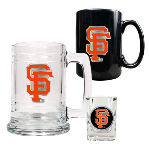 MLB San Francisco Giants 15-Ounce Tankard, 15-Ounce Ceramic Mug & 2-Ounce Shot Glass Set - Primary Logo (Sf Giants Coffee Mug Set compare prices)