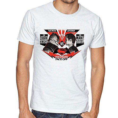 Dark Knight Batman vs Man of Steel Superman Face Off Fan Mens Uomo Man White T-shirt
