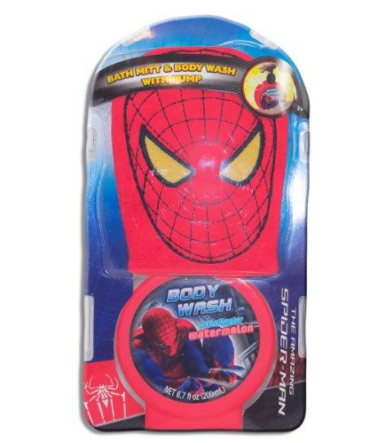 Marvel Spider-Man, Bath Mitt Set with Body Wash Pump, Marvel Spider-Man