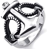 KONOV Jewelry Mens Womens Cubic Zirconia Stainless Steel Ring, Vintage Anchor, Silver Black