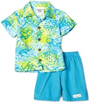 Flap Happy Sunbreaker Shirt With Brushed Twill Short Set, Turtle Bay, 18 Months