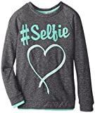 Beautees Big Girls Selfie Pullover Sweatshirt, Charcoal, X-Large