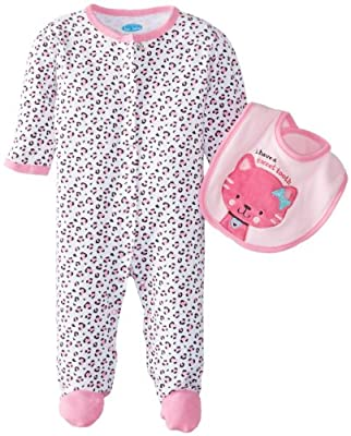 Bon Bebe Baby-Girls Newborn Sweet Tooth Footed Coverall with Bib, Multi, 3-6 Months
