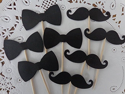 Black Bowtie and Mustache Cupcake Toppers - Food Picks - Appetizer Picks (Set of 24 Toppers) (Lil Mustache Baby compare prices)