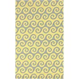 8' x 10' Wave Reflections Golden Yellow and Light Gray Hand Hooked Outdoor Patio Area Throw Rug