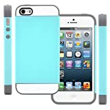 CellJoy Hybrid TPU 2PC Layered Hard Case Rubber Bumper for Apple iPhone 5 5S (At&t / Sprint / T-Mobile / Verizon / Unlocked) [CellJoy Retail Packaging] (Teal / Gray / White) Reviews