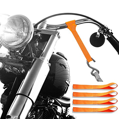 Badass Moto Gear 7300 Lb Break Strength Motorcycle Tie Down Straps. Ultra Soft Loops, Heavy Duty. Protects Chrome & Paint. Hooks to Ratchet or Cam Buckle Tiedowns, Securing ATV, Truck, Trailer & Cargo (Motorcycle Trailer compare prices)