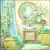 The Tile Mural Store - Tropical Bath I by Jerianne Van Dijk - Kitchen Backsplash / Bathroom wall Tile Mural