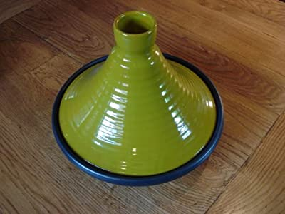 Green Glazed Terracotta Tagine With Black Base 25 Cms Dia by Spanish