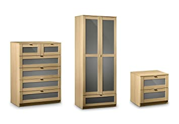 Julian Bowen Strada 3 Piece Bedroom Set - 2 Drawer Bedside + 4+2 Drawer Chest + Combination Robe - Light Oak Colour