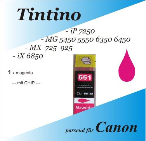 1 kompatible magenta iP 7250 MG 5450 5550 6350 6450 MX 725 925 iX 6850 - Canon Pixma kompatible Tintenpatronen Cli 551 xl 1 x m + Chip Füllstandsanzeige