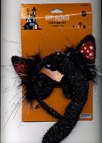 3 Piece Cat Costume - Headband - Tail - Bowtie