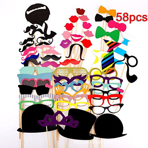 Tresbro 58 Pieces DIY Kits Photo Booth Props Party Favor for Wedding Party Reunions Graduation Birthdays Dress-up Accessories Costumes with Mustache, Hats, Glasses, Lips, Bowler, Bowties on Sticks (Italian Photo Prop compare prices)