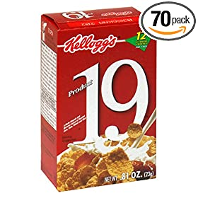 Kellogg's Product 19 Cereal, 0.81-Ounce Single Serve Packs (Pack of 70