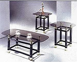 3 piece pack 2 tube black finish horn coffee end table set we smoky glass by acm. Black Bedroom Furniture Sets. Home Design Ideas