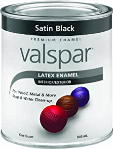 Valspar 65049 Premium Interior / Exterior Latex Enamel, 1-Quart, Satin Black