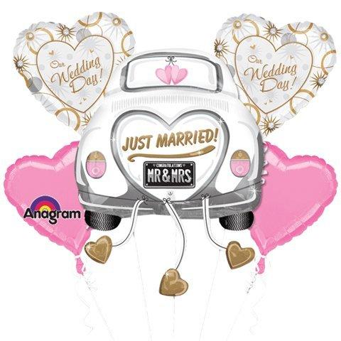 Just Married Wedding Car Mylar Foil Balloon Bouquet Set