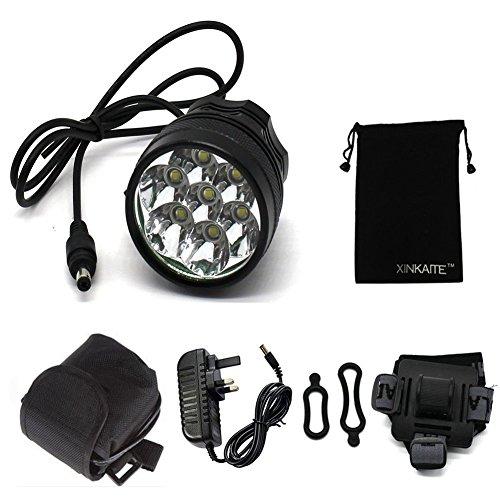 GXY - Torcia frontale da bicicletta e mountain bike con caricabatterie, 10.000 lumen, 7 lampadine Cree Xm-l T6