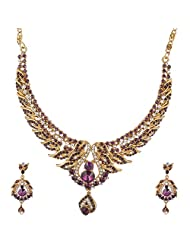 I Jewels Traditional Gold Plated Stone Necklace Set With Maang Tikka For Women (Purple) (M4015Pu)