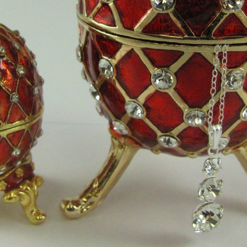 NESTED SET: Swarovski Crystals! Large RED Faberge Egg Box with Miniature Egg Nested Inside, with Necklace Nested Inside! Gold Jewelry Box ...ABSOLUTELY FABULOUS!