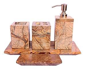 5 pieces set indian natural stone toilet bathroom bath set for Bathroom accessories set india