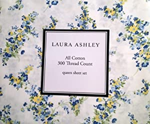"""Laura Ashley Blue and Yellow Flowers Floral Bouquets """"Tilly"""" Queen"""