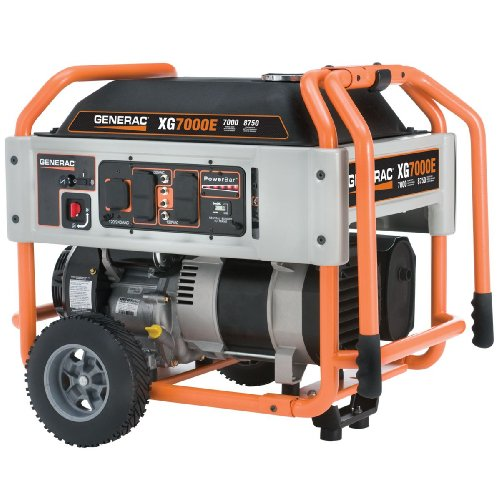 Generac 5798 XG7000E 8,750 Watt 410cc OHV Gas Powered Portable Generator With Wheel Kit And Electric Start