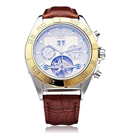 Sewor Pu Leather Brown Mechanical Flywheel Men Wrist Watch