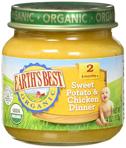 Earth's Best Organic Stage 2, Sweet Potato & Chicken Dinner, 4 Ounce Jar (Pack of 12) (Dinner Food compare prices)