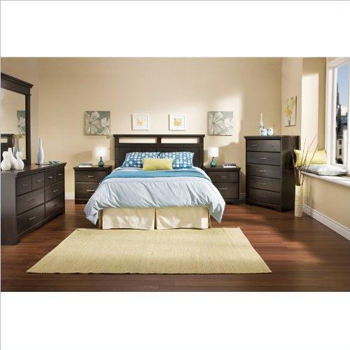 South Shore Versa Full/Queen Wood Panel Headboard 3 Piece Bedroom Set in Black Ebony