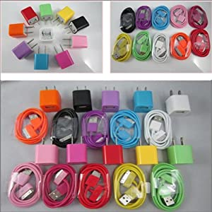 Retailstore 10x USB Wall Charger Plug+Data Cable For iPhone 4G 4S 3GS iPod New