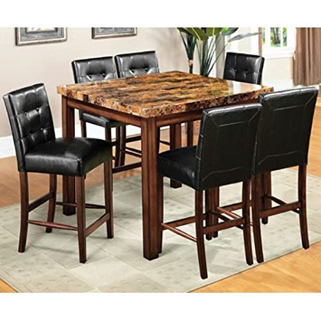 Rockford Faux Marble Top 7-Piece Counter Height Dining Set