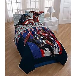 Captain America Civil War Lightning Marvel Avengers Boys Twin Comforter & Sheets (4 Piece Bed In A Bag) + HOMEMADE WAX MELT