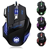 [T80 New Version] DLAND ZELOTES Professional LED Optical 5500 DPI 7 Button USB Wired Gaming Gamer Mouse Mice Adjustable DPI Switch Function 5500DPI/3200DPI/2400 DPI /1600 DPI /1000 DPI For Pro Game Notebook PC Laptop Computer (T80-NEW-UK)