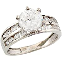Sterling Silver 3.27ct CZ Pretty Bridal Ladies Engagement Ring