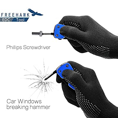 Freehawk® 7 in 1 Outdoor Tactical Emergency Survival EDC Multitool Knife - Fine Edge Knife, Bottle Opener, Slotted Screwdriver (2 sizes), Phillips Screwdriver, LED Flashlight and Key Ring by Freehawk