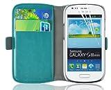 JAMMYLIZARD | Luxuriös Edition | TÜRKIS GRÜN Ledertasche Flip Case Hülle für Samsung Galaxy S3 Mini mit Ständerfunktion, Kreditkartenfächer und Magnetverschluss, inkl. Displayschutzfolie