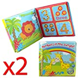 Pack Of 2 Baby Bath Books Educational Fun Toys Jungle