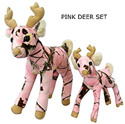 Pink Camo Realtree Deer Set 14 Inch & 10 Inch Animal Camouflage Stuffed Animal Soft Plush Dad Daughter Mom Gift