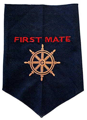 First Mate Dog Bandana, Custom Embroidery on 100% Washable Cotton, First Mate with Along with a Ships Wheel, 3 Sizes Available (LARGE: Neck size up to 25