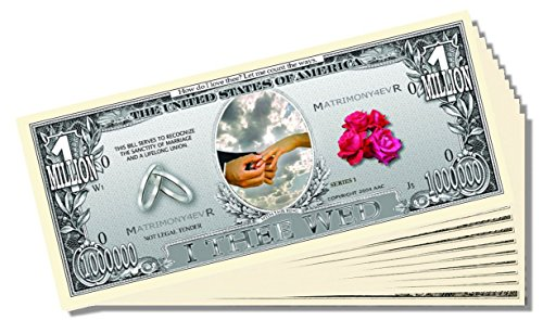 """I Thee Wed"" (Wedding) Million Dollar Bill - 25 Count with Bonus Clear Protector & Christopher Columbus Bill"