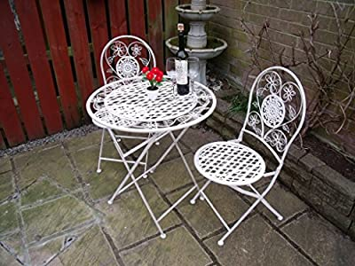 Bistro Set Garden Furniture Table and Chairs Patio Shabby Style Chic -White 1